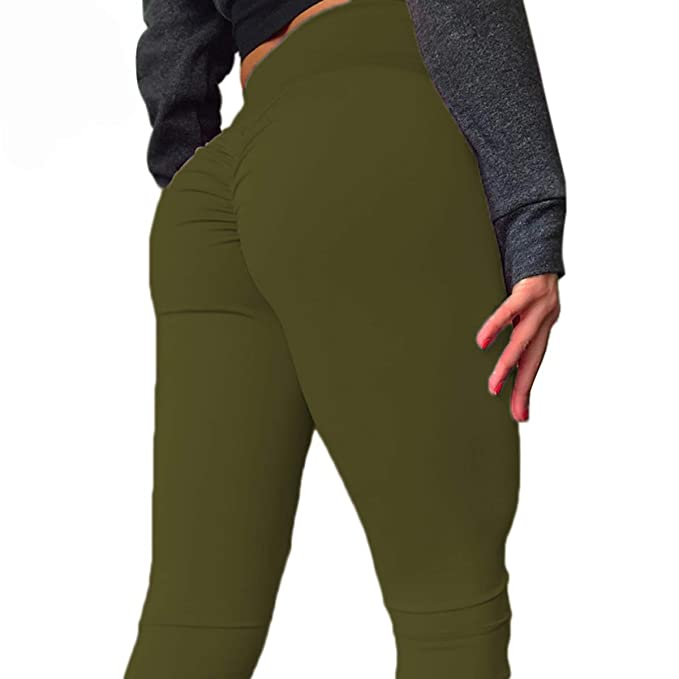 96874da9847e0 CROSS1946 Women s High Waist Back Ruched Legging Butt Lift Yoga Pants S  Army Green