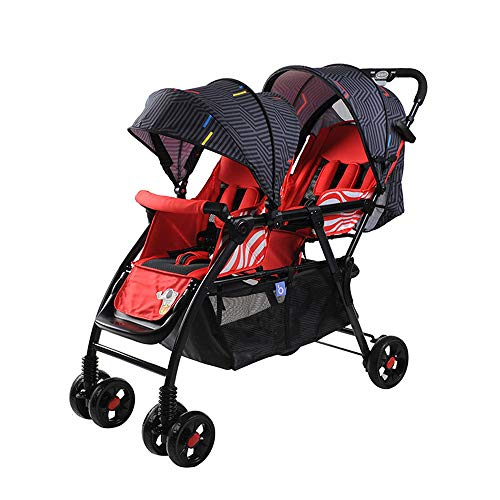 BO LU Double Strollers Double Seats for Twins Foldable Can Sit and Lie with Awning Adjustable Backrest,Red