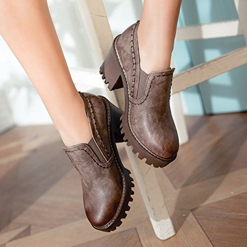 Latasa Mujeres Block High Heels Slip On Mocasines Zapatos Marrón