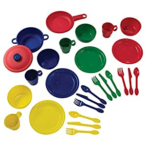 KidKraft 27Piece Cookware Playset – Primary, 6.5″ x 6.5″ x 6.5″, Multicolor