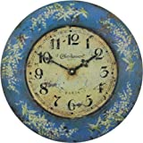 Roger Lascelles French Tin Wall Clock, Lily Design, 14.2-Inch