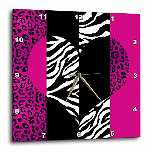 3dRose DPP_35437_2 Pink Black and White Animal Print Leopard and Zebra Heart Wall Clock, 13 by 13-Inch