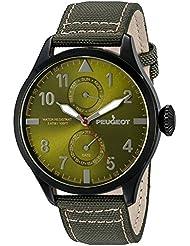 Peugeot Mens 2044BGR Black Plated Green Nylon Day Date Calendar Aviator Analog Display Quartz Green Watch