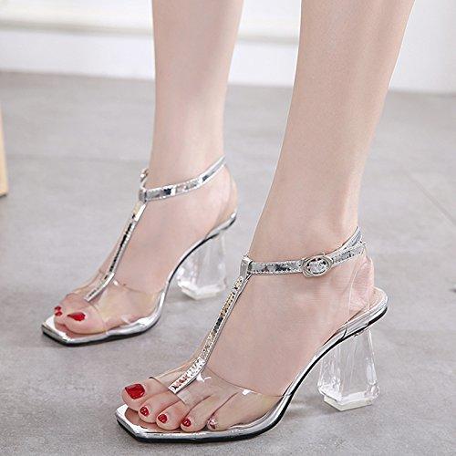 avec grossière Sandales Femmes titre Chaussures Transparent Chaussures à la Crystal Chaussures pas Chaussures