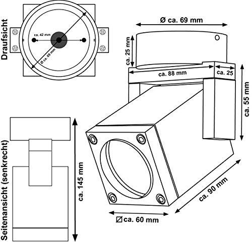 CNC gefr/ästes Alu warmwei/ß IP54 Silber LED GU10 Markenstrahler 7W f/ür Innen und Au/ßen LEDANDO Hochwertiger LED Aufbaustrahler schwenkbar inkl