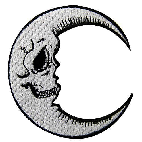 Luna Patch Grinning Skull Face Embroidered Moon Applique Iron On Sew On Emblem ()