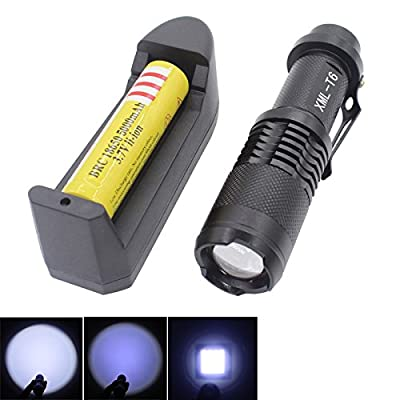 Mini Flashlight Ultra Bright Small Torch - Genwiss Cree XM-L2 LED High 2000 lumen Power Adjustable Zoomable Emergency Handheld Portable Lamp Light with Powerful Rechargeable 18650 Battery and Charge