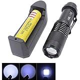 2000 lumen Mini 12W CREE XML XM-L2 LED registrabile Zoomable della torcia elettrica della lampada della luce della torcia nero (includere batteria e caricabatteria)