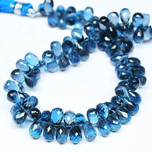 Topaz Necklace Blue Briolette Faceted (London Blue Topaz Micro Faceted Tear Drop Briolette Gemstone Loose Craft Beads Strand 6 pc 7mm by Gemswholesale)