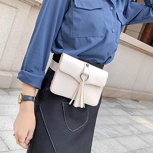 Messenger Waist Flap PU Domybest Fanny Women White Chest Leather Tassels Pack Handbag Belt wqgx1UzCx