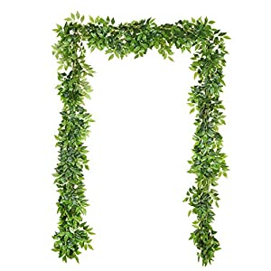 Artiflr 4 Pack Artificial Wall Hanging Plants Artificial Ivy Fake Hanging Vine Plants Decor Plastic Greenery for Home Wall Indoor Outdside 7