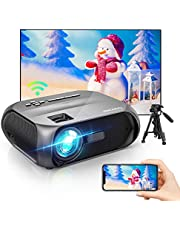 Bomaker Wi-Fi Mini Projector, 150 ANSI Lumen, Native 1280x720P Portable Projector, Full HD 1080P Supported Outdoor Projector, Wireless Mirroring by WiFi/USB Cable, for iPhone/Android/Laptops/Windows photo