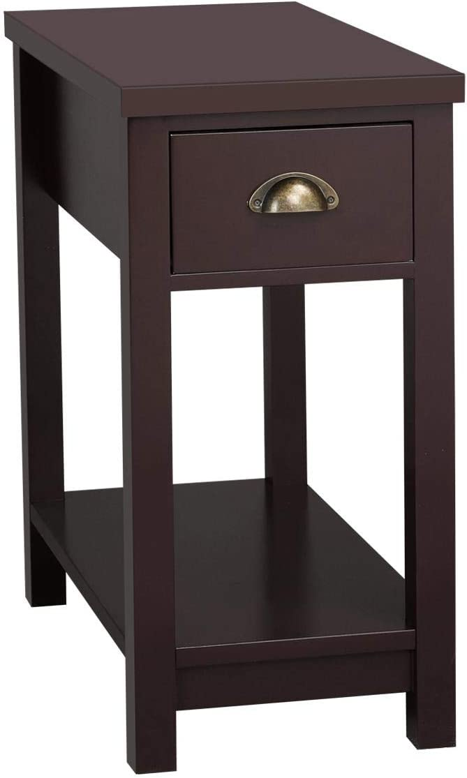 Topeakmart 24in Side End Table 2 Tier Storage Cabinet Night Stand with One Drawer, Espresso