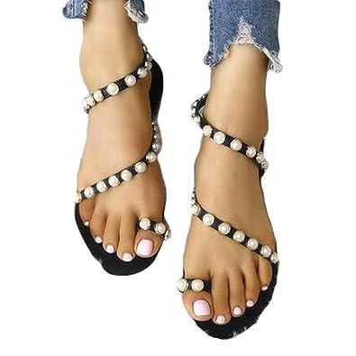 Damen Flach Elegant Sandalen mit Strass Peeptoe Sommer