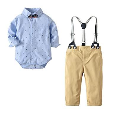 8dbc8f038 Amazon.com  Newborn Baby Boys Gentleman Outfits Suits