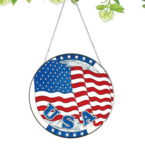 Collections Etc Patriotic American Flag Glass Window Suncatcher - Festive Fourth of July or Memorial Decorative Accent for Window
