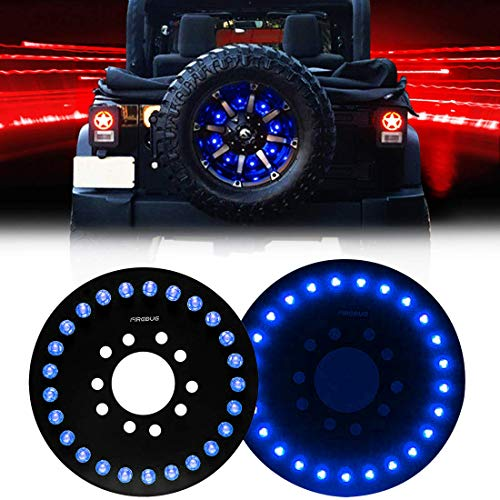 FIREBUG Jeep 3rd Brake Light LED, Jeep Spare Tire Brake Light, 25 LED Jeep Brake Light, Jeep Accessories Lights for Spare Tire, Jeep Wrangler Spare Tire Brake Light JK JKU 2007-2017 Blue (2015 Jeep Wrangler Sahara Unlimited Tire Size)
