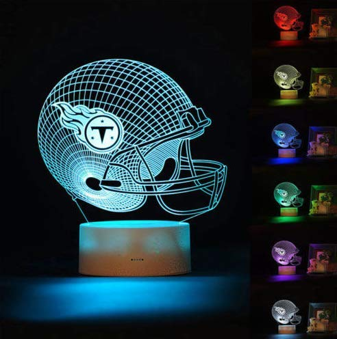 (Football Helmet Light Touch Control Football Team Light Lamp 7 Color Changing Touch Light Lit Base Night Light for Boys Men Women for Football Sports Lovers (Tennessee Titans))
