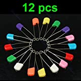 JAGENIE 12 pcs Colors Safety Locking Baby Cloth Nappy Diaper Craft Pins Mother's Day Gift