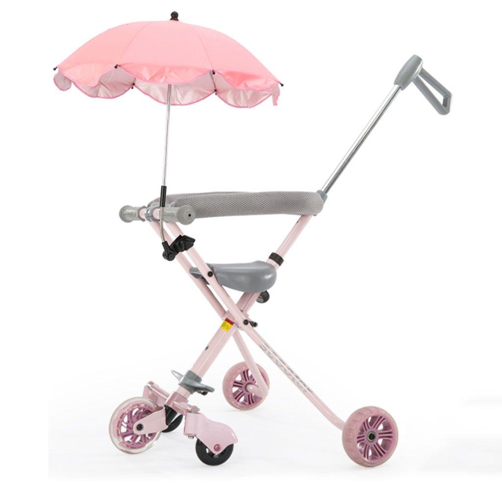 MuMa Cochecito Aleación de Aluminio Be Shiny Foaming Wheel Super Ligero Sin Frenos 18 Meses - 6 años de Edad Trolley para niños (Color : Pink)