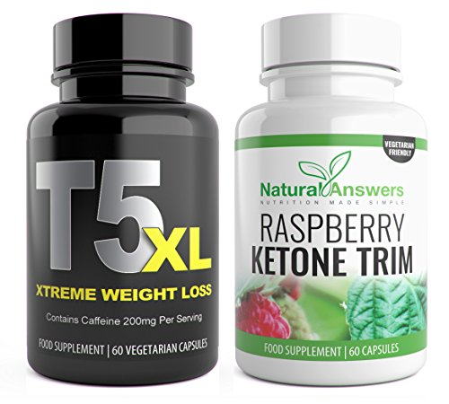 T5 Fat Burners + Raspberry Ketone Trim 1 Month T5 XL 120 Fat Burner Bioslim...