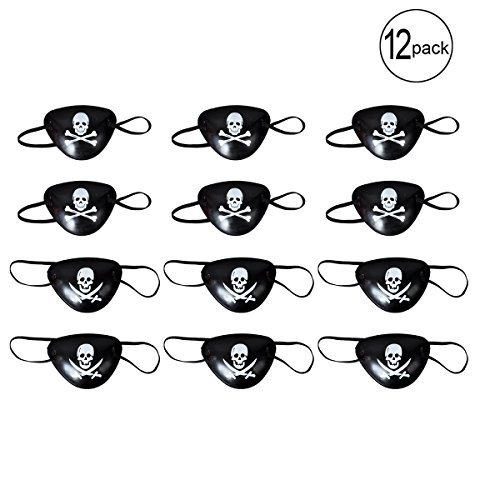 BUYDEAL Pirate Eye Patches for Halloween Party Favors and Pirate Costume Prop,12-Pack