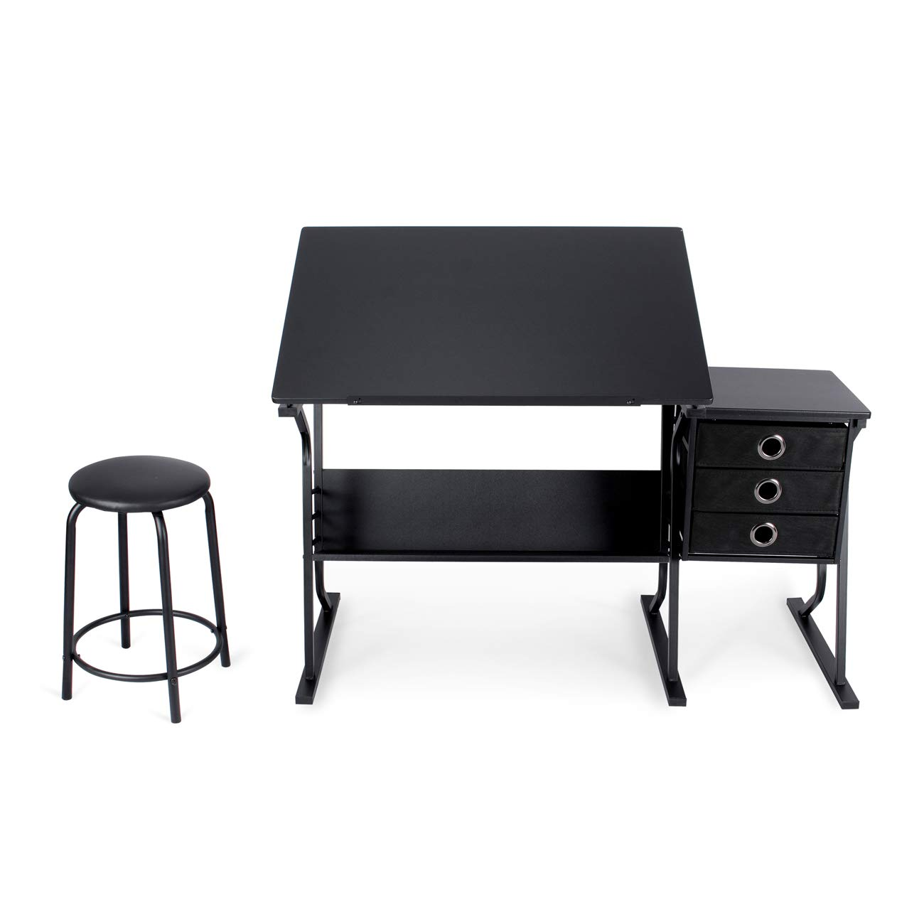 Belleze Adjustable Tabletop Drafting and Drawing Desk w Padded Stool and 3 Storage Drawers, Black