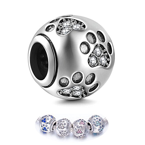 ENJOOOY Sterling Silver Dog Paw Print Charm Beads with Cubic Zirconia Crystals fit Pandora Style Beaded Bracelets for Pet Lovers by ENJOOOY