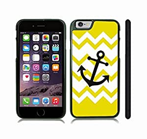 iStar Cases? iPhone 6 Plus Case with Chevron Pattern White Yellow Stripes Black Anchor , Snap-on Cover, Hard Carrying Case (Black)