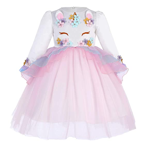Vestido De Tutu Princesa Unicornio Arco Iris Fiesta De Cumpleaños Disfraz Bautizo Para Niña Vestido Infantil Ceremonia Fiesta Bebe Niña Ropa Verano
