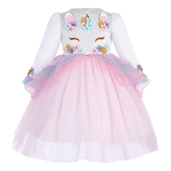99bcfe45d Vestido de Tutu Princesa Unicornio Arco Iris Fiesta de cumpleaños Disfraz  Bautizo para Niña Vestido Infantil Ceremonia Fiesta Bebe Niña Ropa Verano  Pequeño ...