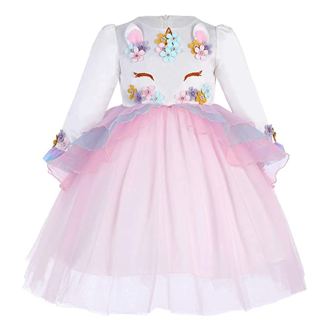 e3c923611 Vestido de Tutu Princesa Unicornio Arco Iris Fiesta de cumpleaños Disfraz  Bautizo para Niña Vestido Infantil Ceremonia Fiesta Bebe Niña Ropa Verano  Pequeño ...