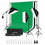 CRAPHY 2000W Photography Studio 4-Socket Softbox Continuous Lighting Kit with Backdrop Stand,Upgraded Background (Green,White,Black),45w Lamp,Light Stand,Holder Kit and Portable Bag for Portrait