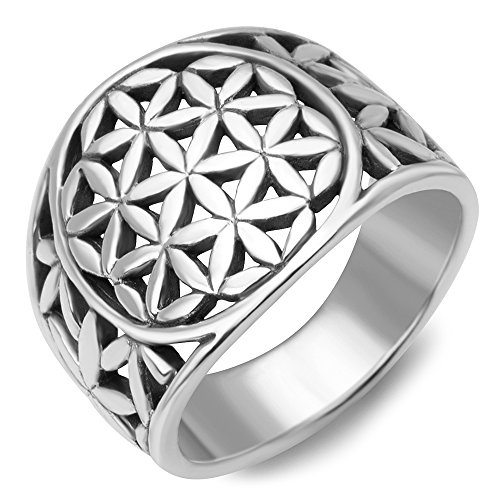 Chuvora 925 Sterling Silver Detailed Flower of Life Symbol Mandala Filigree Large Band Ring Size 9 by Chuvora (Image #1)