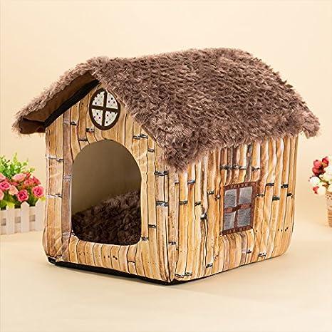 WSS paja Kennel lavable perro cama perro casa pequeño Perros Perros de mediano talla y gatos accesorios para animales, B, Medium: Amazon.es: Deportes y aire ...