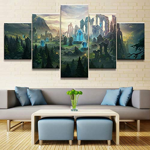 HENANFSLY Hd Home Decoration Canvas Painting 5 Pieces League of Legends Pictures Wall Art Prints Modular Modern Game Poster for Boy Room