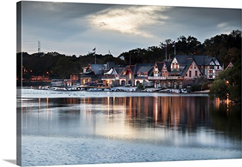 Anna Serrano Premium Thick-Wrap Canvas Wall Art Print entitled Pennsylvania, Philadelphia, Boathouse Row area, Water Works, Schuykill River