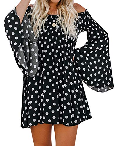 Style Dome Womens Casual Off Shoulder Polka Dot Dresses Summer Horn Long Sleeve Dresses Mini Beach Dresses B-Black - Polka Dot Dome