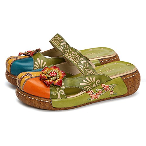 Image of gracosy Leather Slipper, Women's Oxford Slipper Vintage Slip-Ons Colorful Flower Backless Loafer Shoes