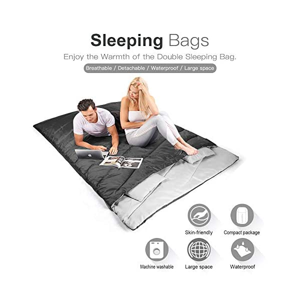 FUNDANGO Sleeping Bag Queen Size XL Double Sleeping Bag for Camping, Hiking, Traveling,2 Person Sleeping Bag with 2 Pillows and Compression Bag 8