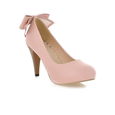 8c724b62604 AmoonyFashion Womens Closed Round Toe Kitten Heel Platform PU Soft Material  Solid Pumps with Bowknot