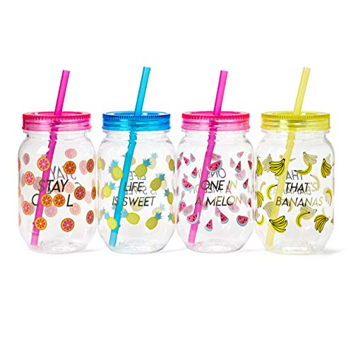 Fun Mason Jar Plastic Cups: Large Break Resistant, BPA Free To-Go Mug with Lid and Handle - Perfect as Party Cups, Kids Travel Cups, Wedding Party Cups (Multi-Colored, 4-Pack) -