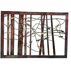 Bellaa 22021 Classic Metal Wall Decor with Intricate Bird and Tree Motifs