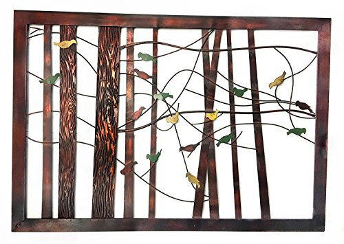 Bellaa 22021 Classic Metal Wall Decor with Intricate Bird and Tree Motifs