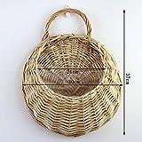 eronde HangingFlowerBasket, Handmade Wicker Rattan Flower Basket for Home Garden Wedding Wall Decoration