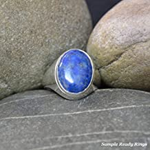 92.5 Sterling Silver Custome Handmade 5 Ct Lapis Lazuli Bold Ring For Men