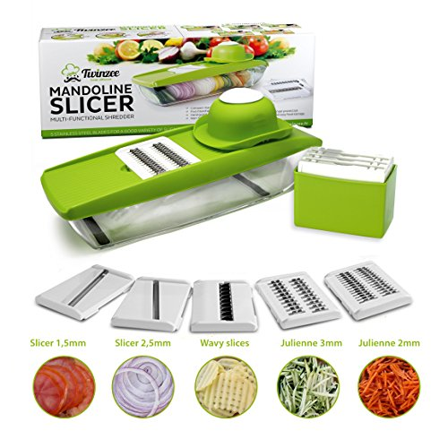 Twinzee 5 In 1 Compact Mandoline Food Slicer From - Slices And Shreds Fruits And Vegetables Thinly, Uniformly And Quickly - Micro Plane Spiral Cutter
