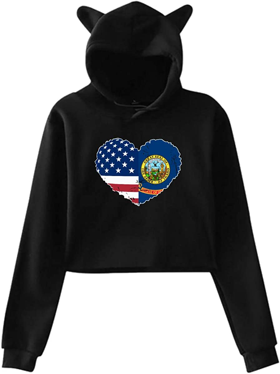 Womens Girls Cat Ear Pullover Hoodie Idaho State USA Flag Heart Crop Top Sweatshirts Black