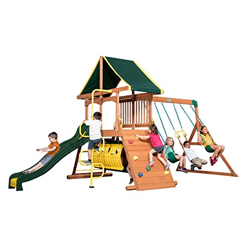 Backyard Discovery Rockin Adventure All Cedar Wood Playset Swingset (Playset Roof Tarp)