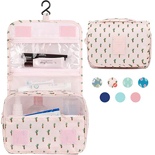 c7f9f0d033e9 Hanging Travel Toiletry Bag Cosmetic Make up Organizer for Women and Girls  Waterproof (Cactus)